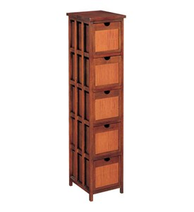 Hazelnut & Rattan Five-Drawer Storage Rack Image