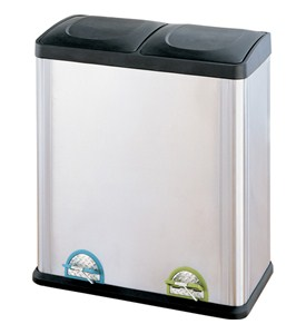 Two-Compartment Stainless Steel Recycle Bin Image