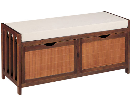 Hazelnut Rattan Twin Drawer Storage Bench In Storage Benches