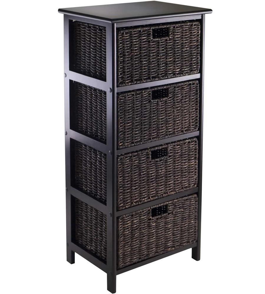 omaha storage rack with 4 baskets in shelves with baskets. Black Bedroom Furniture Sets. Home Design Ideas
