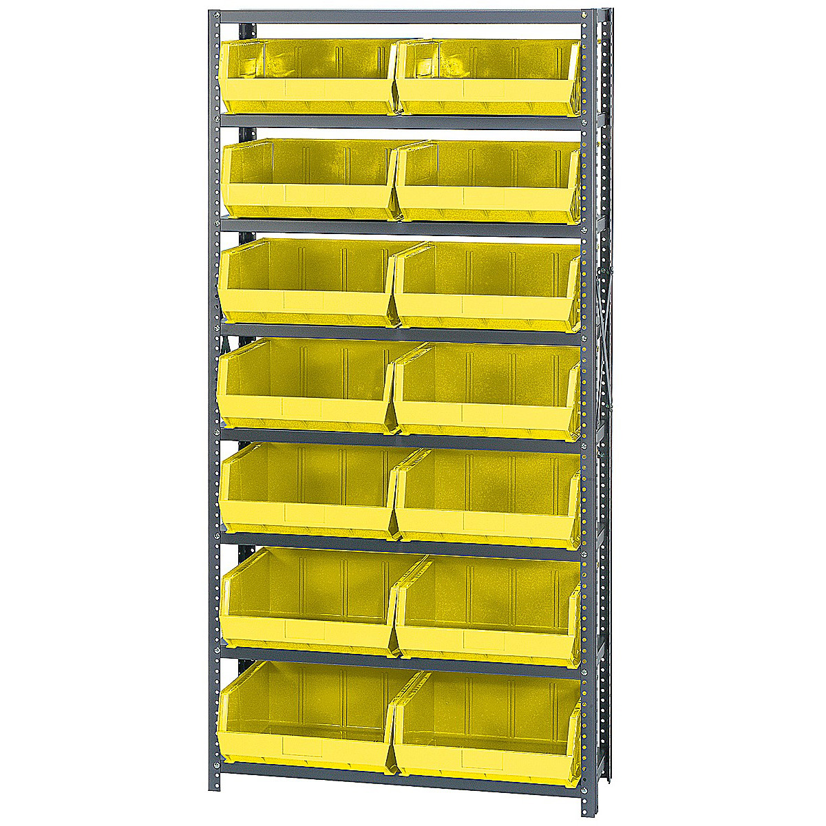 open hopper storage unit with 14 bins by quantum storage sys