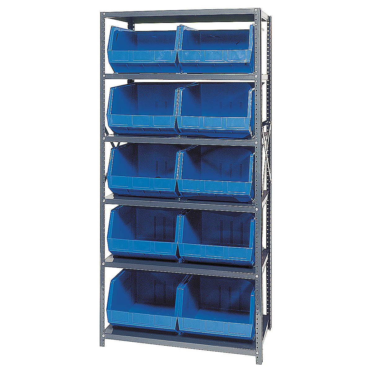 Open Hopper Storage Unit - 10 Bins in Plastic Storage Bins