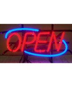 Open Neon Sign on Metal Grid