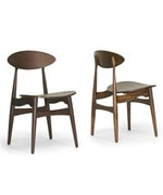 Ophion Brown Wood Modern Dining Chair- Set of 2 by Wholesale Interiors