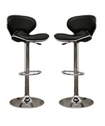 Orion Faux Leather Adjustable Bar Stool - Black