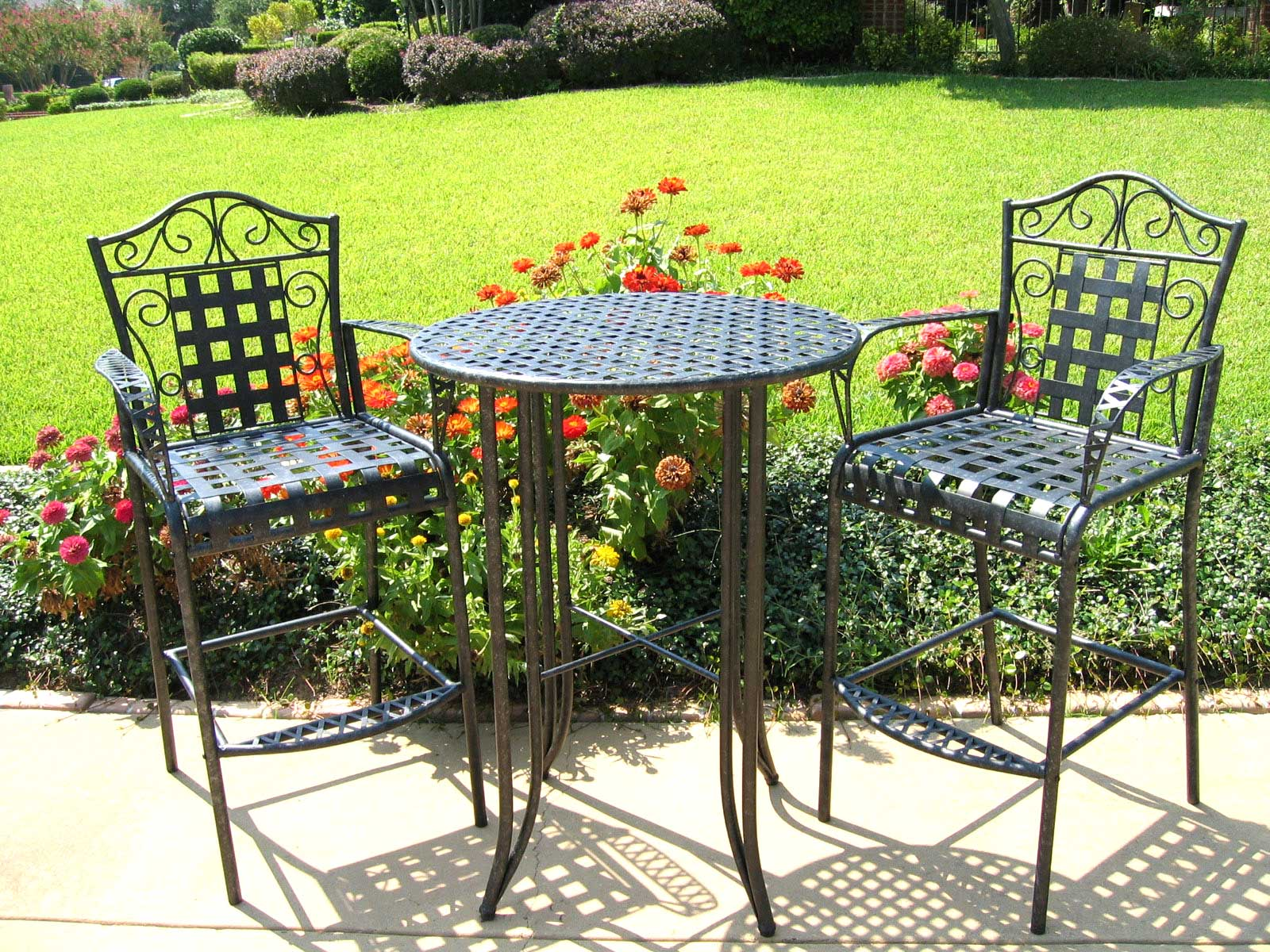 Outdoor bistro set 3 piece patio furniture set in patio for Balcony furniture set
