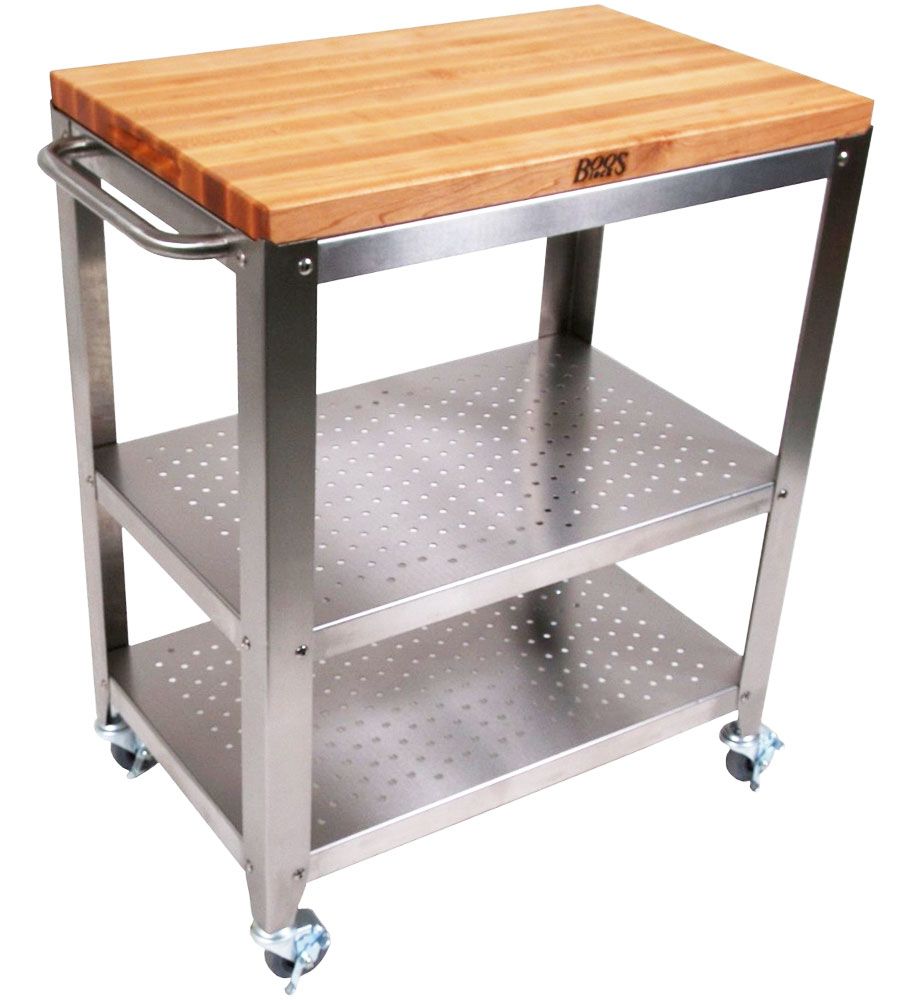 Outdoor kitchen cart with wood top in island carts