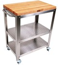 Outdoor Kitchen Cart with Wood Top