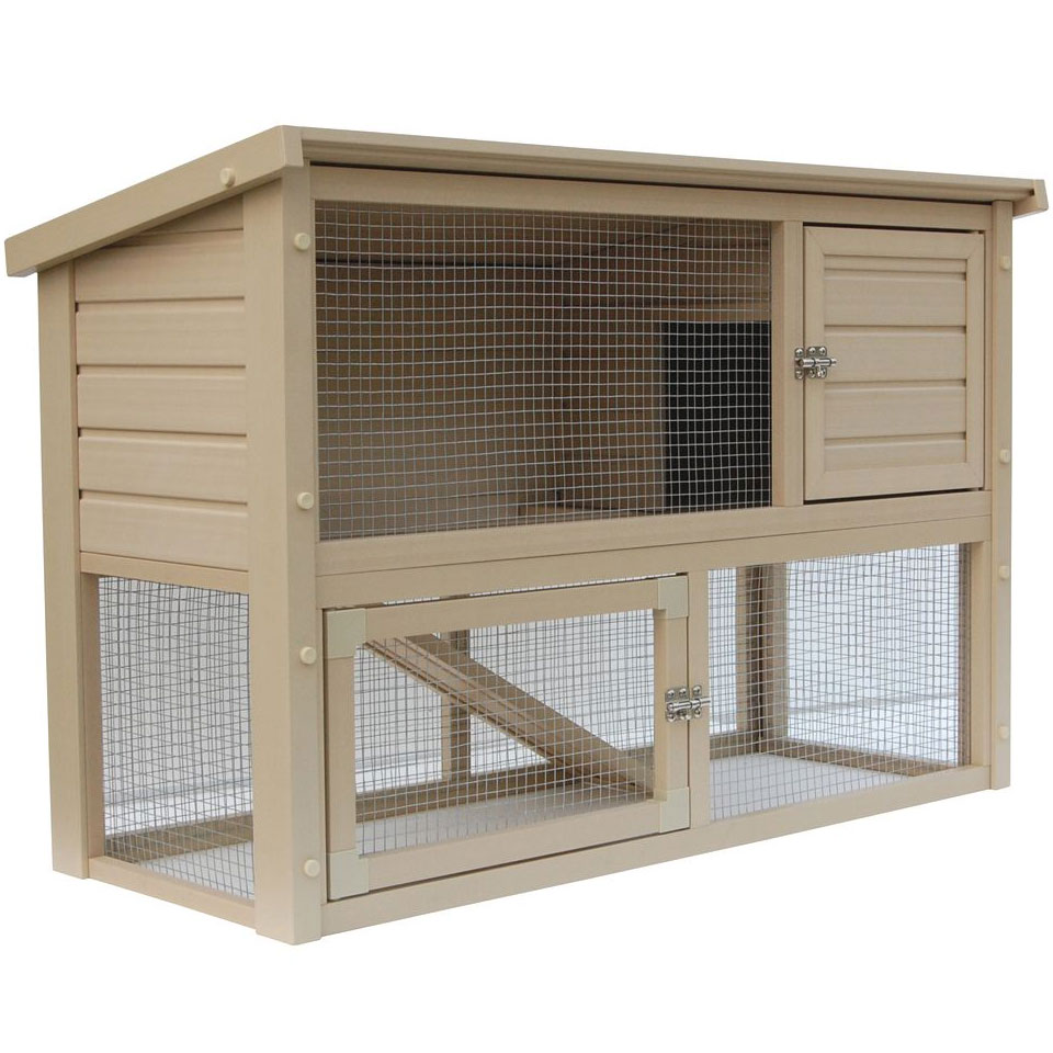 Outdoor rabbit cage in pet pens for Outdoor bunny hutch