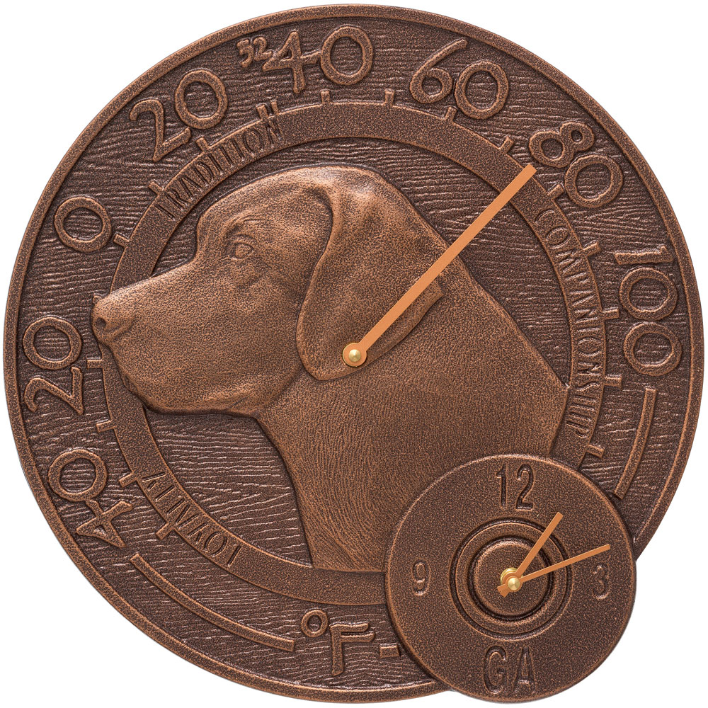 Garden Thermometer And Clock   Labrador Image
