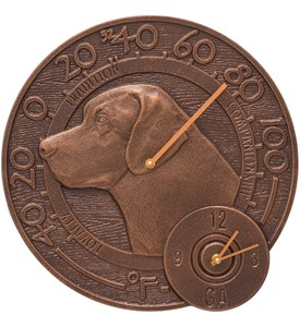 Garden Thermometer and Clock - Labrador Image