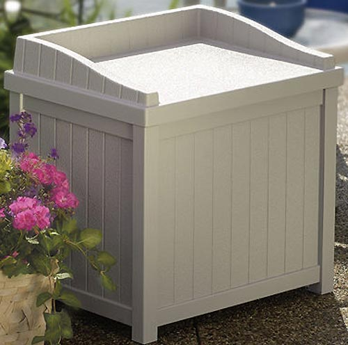 Outdoor Storage Box - Taupe Image - Outdoor Storage Box - Taupe In Deck Boxes