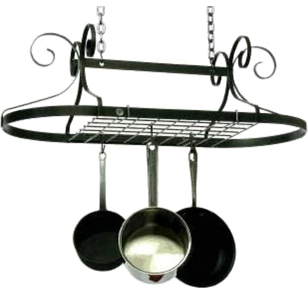 Oval Pot Rack Hammered Steel In Hanging Pot Racks