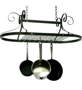 Oval Pot Rack - Hammered Steel Image