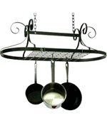 Oval Pot Rack - Hammered Steel