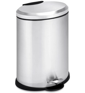 Oval Trash Can - Stainless Steel Image