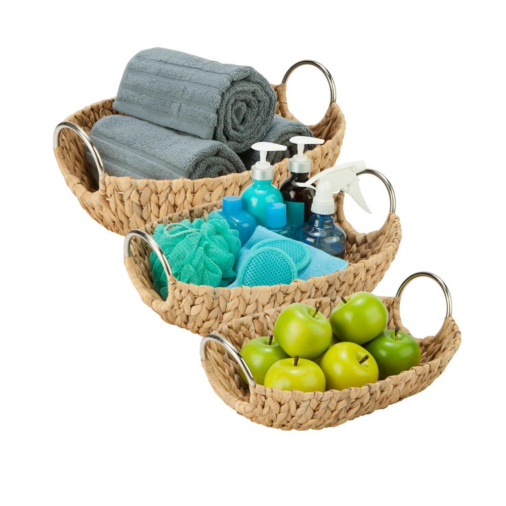 oval wicker basket set of 3 price