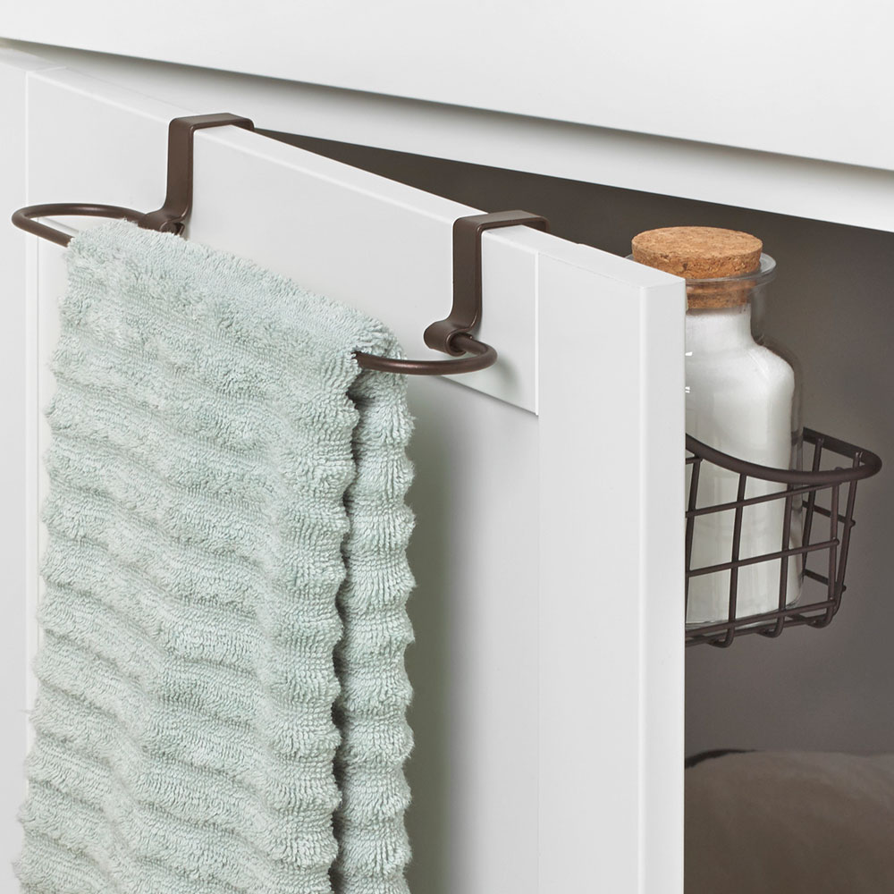 Over Cabinet Door Basket With Towel Bar In Cabinet Door Organizers