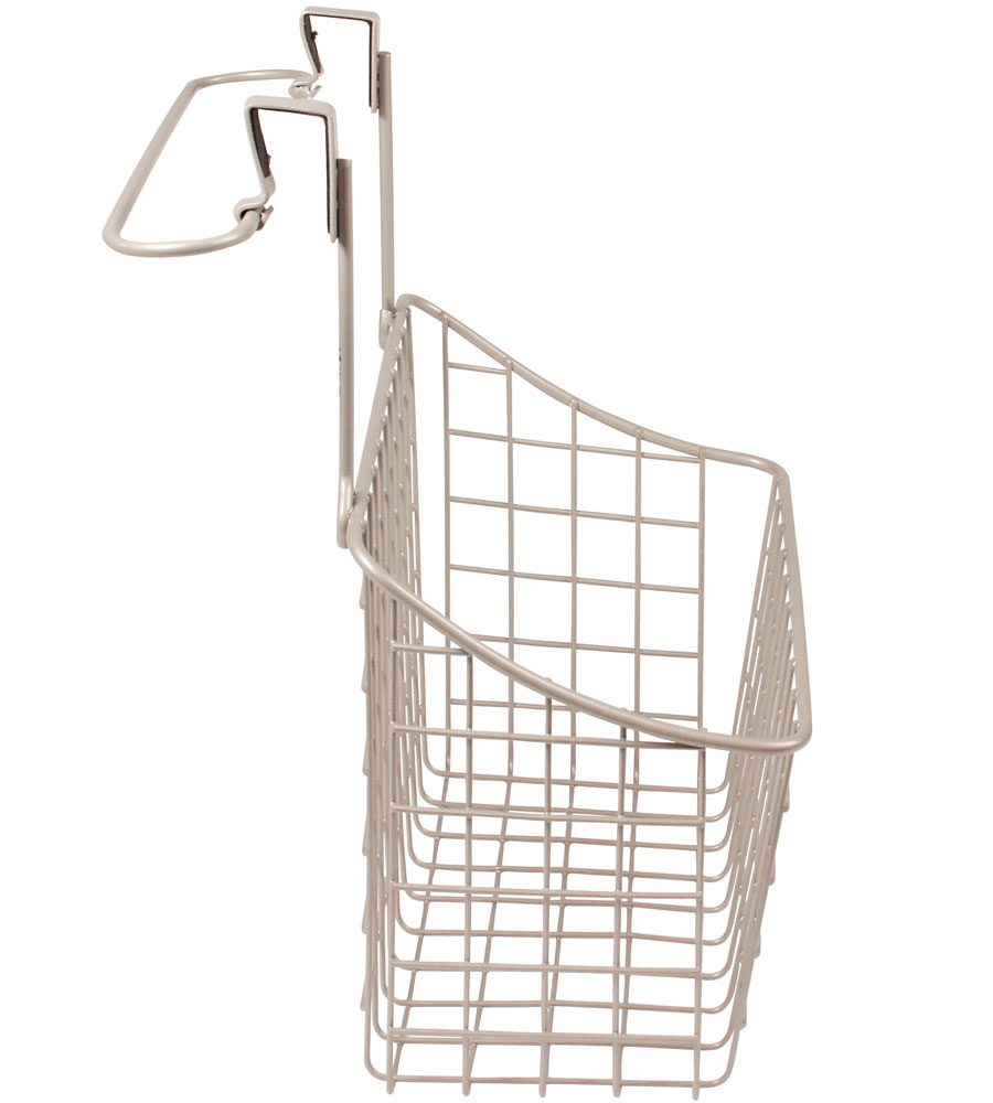 Over cabinet door basket with towel rail in cabinet door for Bathroom cabinet with baskets