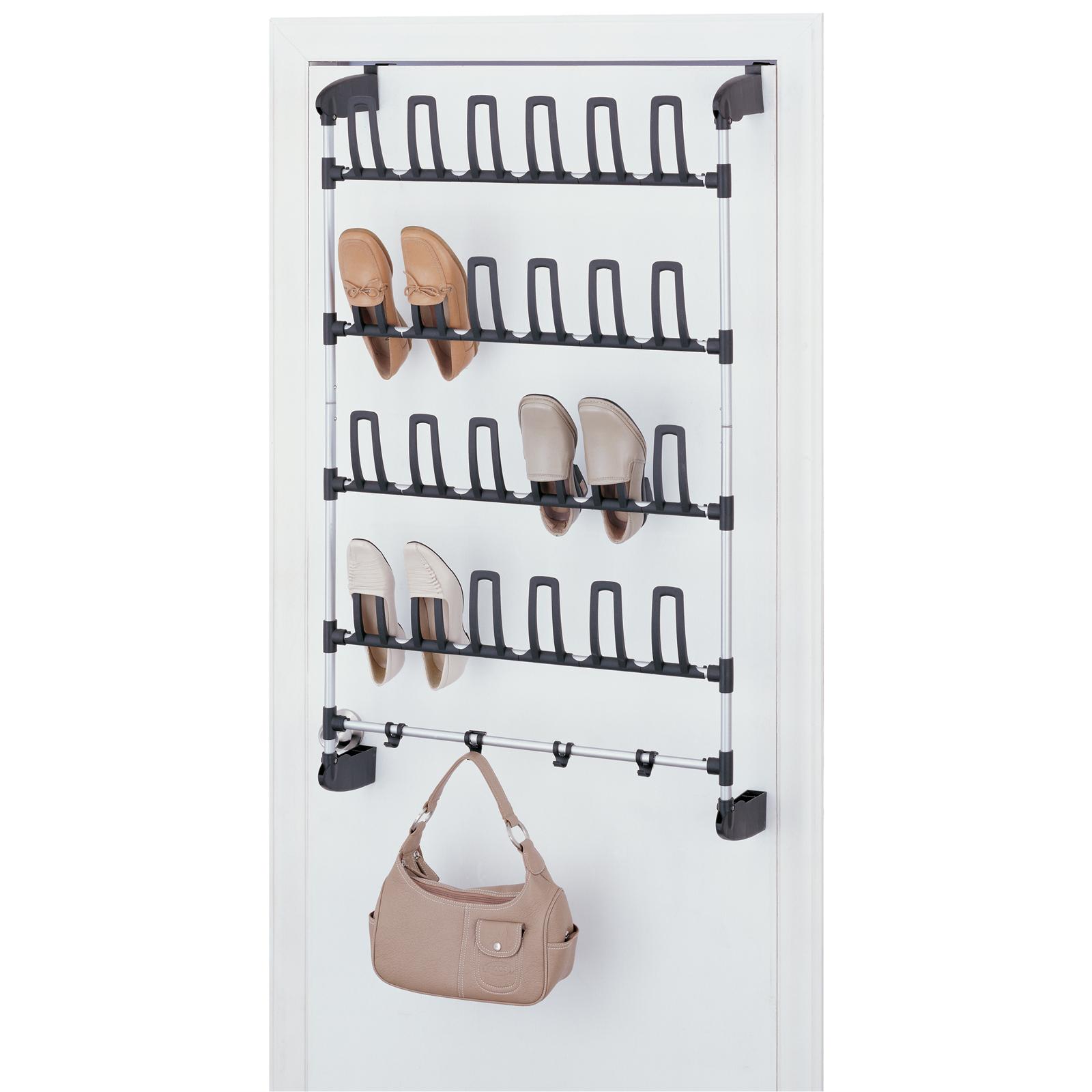Over the door 12 pair shoe rack with hooks by neu home in for 12 hook over the door coat rack