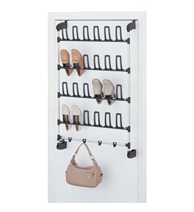 Over the Door 12 Pair Shoe Rack with Hooks by Neu Home Image