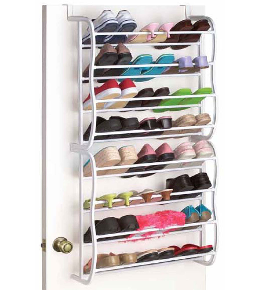 24 pair closet shoe rack in over the door shoe racks for Door shoe organizer