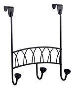 Over the Door Three Hook Rack - Black