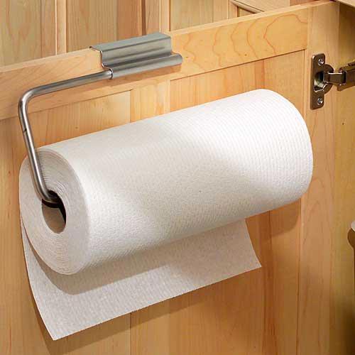 Over Cabinet Door Paper Towel Holder   Stainless Image