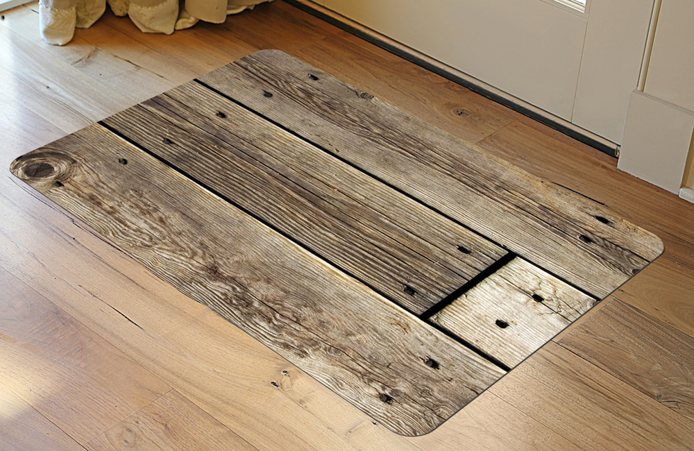 Padded Floor Mat Rustic Wood In Patterned Rugs