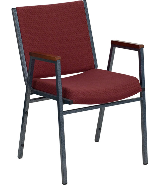 Padded stack chair with arms in dining chairs