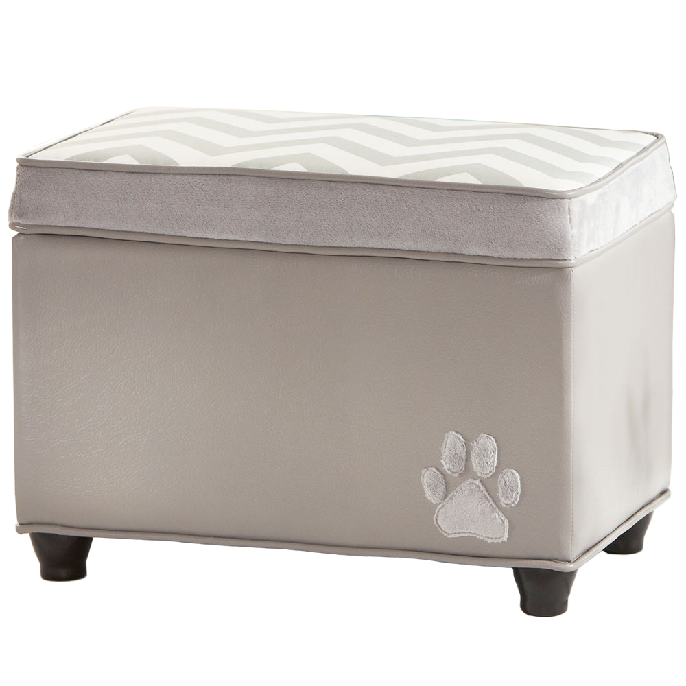 Padded Storage Bench Paw Print In Storage Benches