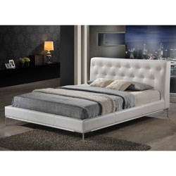 Panchal White Modern Platform Bed - Queen Size by Wholesale Interiors Image