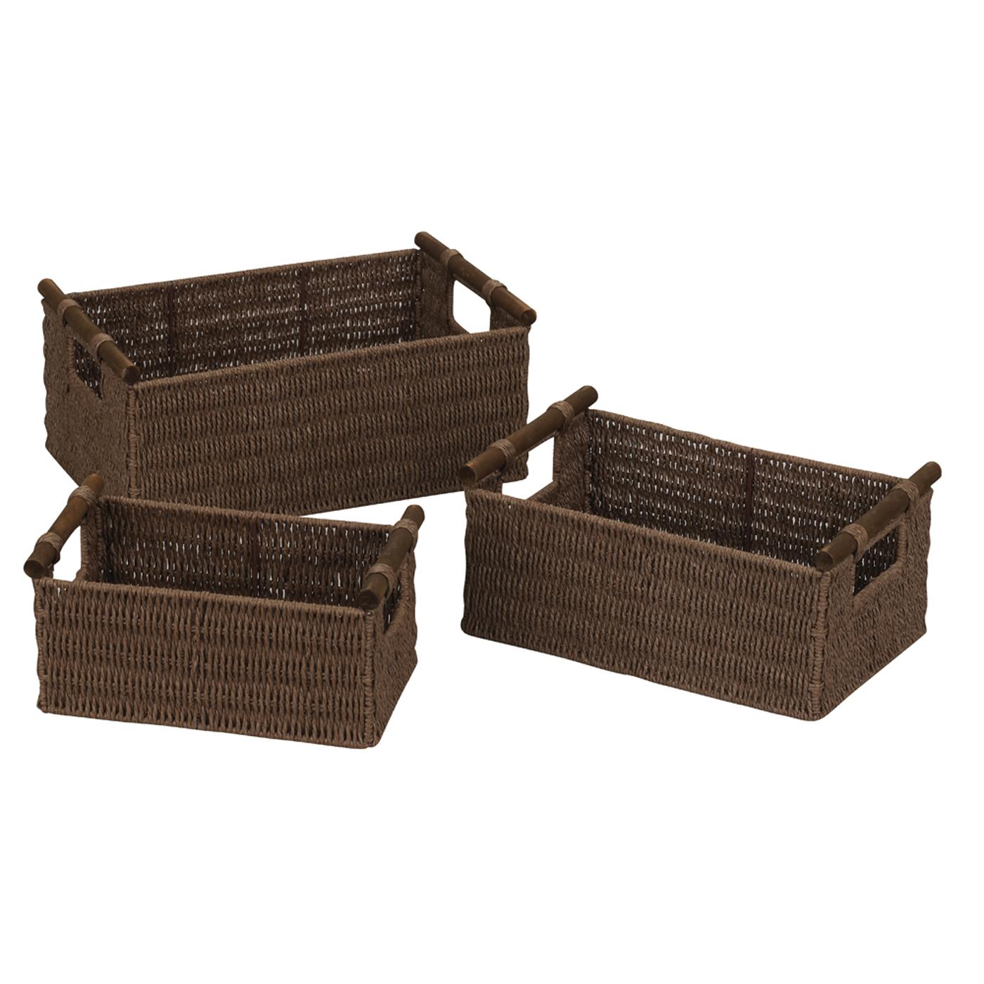 Paper Rope Woven Baskets Java Set Of 3 In Wicker Baskets