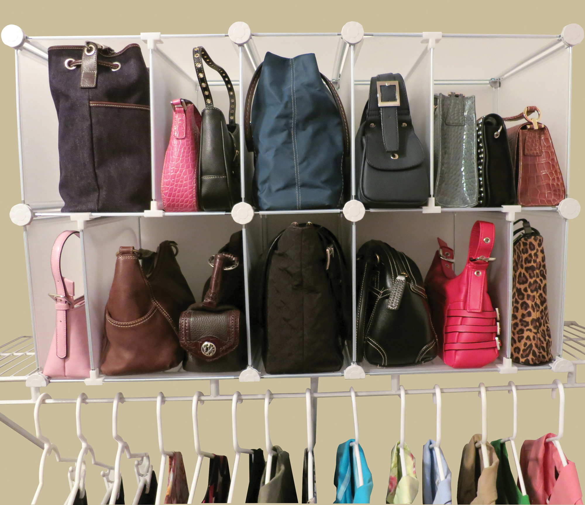 Park a purse modular organizer in purse organizers - Closet organizer for purses ...