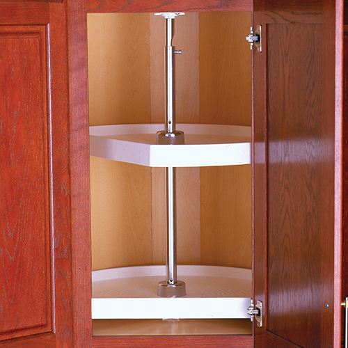 Two Shelf Cabinet Lazy Susan   White   D Shaped Image