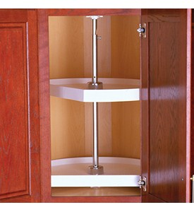 Two-Shelf Cabinet Lazy Susan - White - D-Shaped Image
