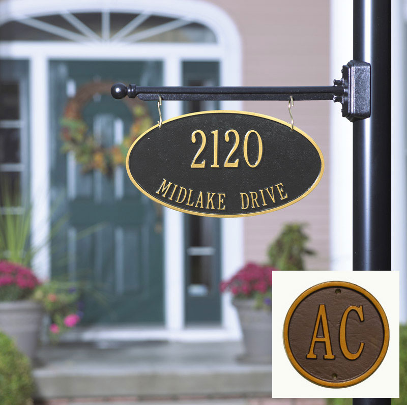 Custom Two Sided Hanging Oval Address Plaque In Specialty