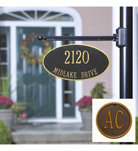 Custom Two-Sided Hanging Oval Address Plaque Image