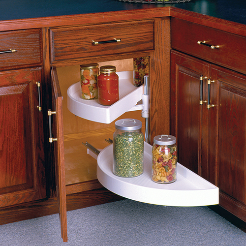 28 Inch Lazy Susan Pivot And Glide Half Moon In Cabinet