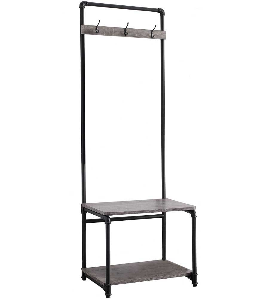 Pipe style foyer bench and coat rack in entryway storage Mudroom bench and coat rack