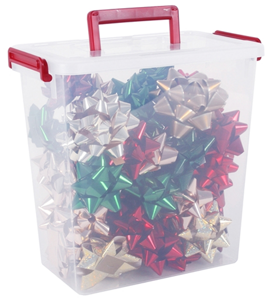 Plastic Storage Container Christmas Bows In Gift Wrap