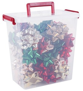 Plastic storage container christmas bows in gift wrap for Attic storage bow
