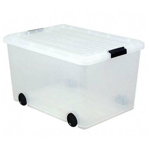 Perfect Iris Clear Plastic Tote With Wheels   56 Quart Image