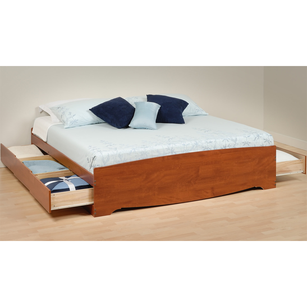 Platform storage bed king sized in beds and headboards for Pedestal bed