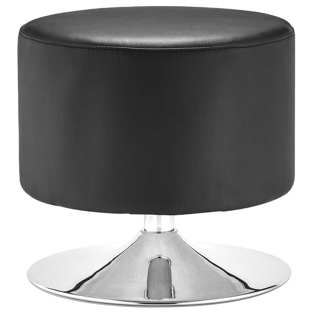 Plump Modern Faux Leather Ottoman In Ottomans