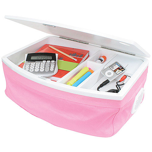 Storage Lap Desk With Ipod Speakers Pink In Lap Desks