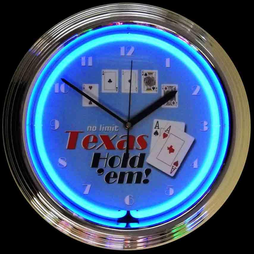 Poker Texas Hold 'Em Neon Clock by Neonetics in Wall Clocks