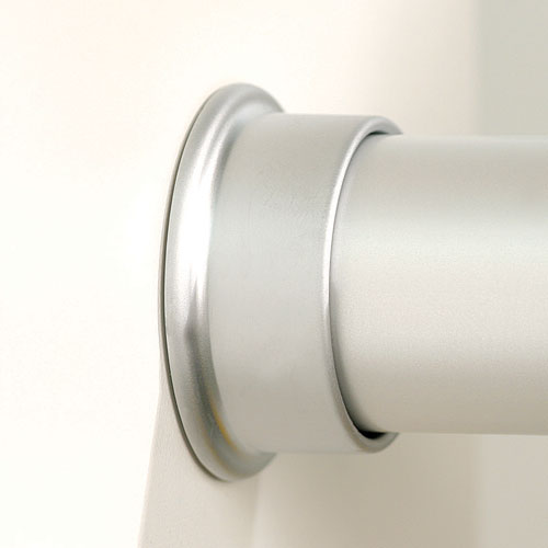 Round Closet Rod Flanges   Brushed Silver