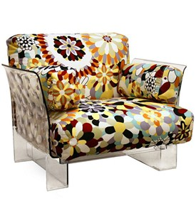 Pop Chair with Floral Pattern Cushions and Clear Acrylic Base - by Wholesale Interiors - 88403 Image