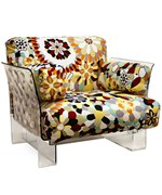 Pop Chair with Floral Pattern Cushions and Clear Acrylic Base - by Wholesale Interiors - 88403